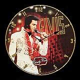 Figuren Shop GmbH Wanduhr mit Elvis Presley - Elvisly Yours | Fan-Artikel King of Rock 'n' Roll