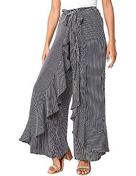 Logobeing Mujer Verano Pantalones Largos de Cintura Alta a Rayas Casual Elegante Algodón Suelto Señoras Falda...