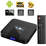 X8T Android 7.1 TV Box mit DDR3 Quad Core Arm Cortex-A53, 1GB RAM + 8GB EMCC, WI-Fi 802.11b/g/n Ethernet Standard RJ-45, 4K UHD - TICTID Smart TV Box