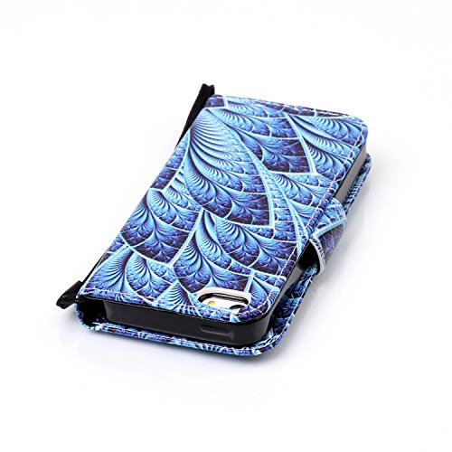 Für iPhone SE/Für iPhone 5/5S Gurt Strap Magnetverschluß Ledertasche Hülle,Für iPhone SE/Für iPhone 5/5S Premium Seil Leder Wallet Tasche Brieftasche Schutzhülle,Funyye Stilvoll Jahrgang [Bunt Muster] Pfau Blume