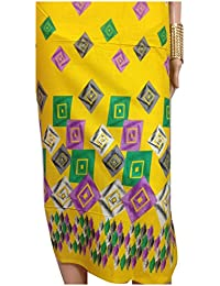 Kurti Material Blouse Fabric Pure Cotton colour fast, art print, yellow base