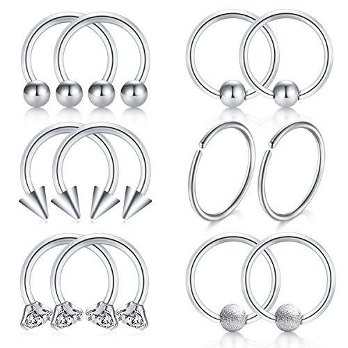JFORYOU Septum Piercing-316L Stainless Steel Nose Septum Ring Cartilage Hoop Helix Earrings for Men Women, Silver 8mm Inner Diameter