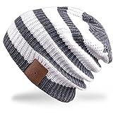 Rotibox invierno sombrero tira Bluetooth Beanie correa de casco con auriculares inalámbricos Mic manos libres de la batería recargable - Blanco