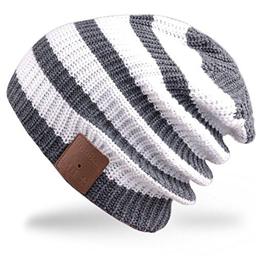 Rotibox lavabile inverno delle donne degli uomini del cappello Striscia Bluetooth Beanie esecuzione Cap w / cuffie Mic mani batteria libero ricaricabile senza fili per telefoni cellulari, iPhone, iPad, Android, laptop, tablet - Bianco