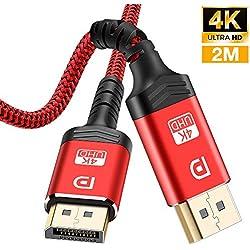 Câble DisplayPort 2M,Câble DP 4K en nylon tressé[4K@60Hz,1440p@144Hz],Câble DisplayPort vers DisplayPort Câble pour ordinateur portable, TV, TV,PC ASUS/Dell/Acer - Câble de moniteur de jeu (Rouge-New)