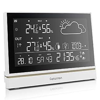 Genérico Estación meteorológica con Gran Pantalla LCD, termómetro Interior y Exterior e higrómetro, previsión meteorológica, barométrica, Fase Lunar