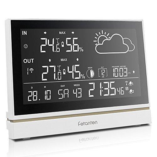 Wetterstation Funk mit Außensensor, Funkwetterstation mit Thermometer Hygrometer Innen Außen, Wecker Digital Funkuhr, Mondphasen, Wettervorhersage, DCF Empfangssignal | 7,5 Zoll LCD-Display