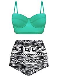 EasyMy Damen Vintage Polka Dot hoch taillierte Badeanzuege Bikini