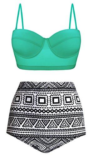 Aixy Frauen Vintage Polka Dot Hohe Taille Bademode Halter Bikini Set Badeanzüge Zwei Stück, Grün Minze, EU 46-48Tag Size 5XL (Zwei Tag Stück Bikini-badeanzug)