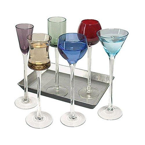 7Piece Long Stem Liqueur set | Artland Jewel Tone Cordial set, bicchieri da liquore, bicchieri da Apertif Digestif occhiali