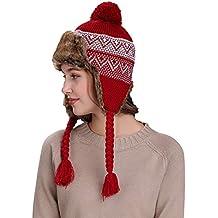 Kobay Caldo Cappello Invernale da Donna con paraorecchie Cappello da  Berretto in Lana Lavorato a Maglia b5767f7637d8