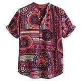 Ginli Camicia Uomo Camicie di Lino a Maniche Corte/Lunga con V Collo Estive Camicia Verde Giallo Rosso M-XXXXL