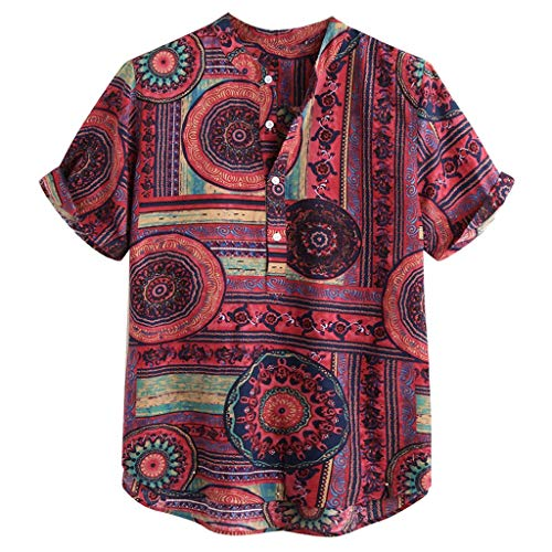Crazboy Herren Baumwoll Leinen Hemden Bedruckt Kurzarm Lässige Henley Krawatte Sommer Tops(XX-Large,Rot)