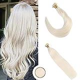 Ugeat 20Zoll #60 Flat Tip Haarverlangerung Echthaar Extensions Blond 50g 1g/s Brasilianisch Tressen Echthaar Keratinbondings