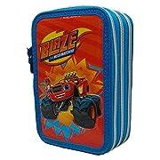 Grazioso borsello porta colori a 3 zip che raffigura i personaggi di Blaze della Nickelodeon. Il borsello è composto da 3 scomparti ogniuno di essi chiuso con un cerniera, nel primo troverete 1 matita, 2 penne, 1 gomma, 1 temperamatite, 1 rig...