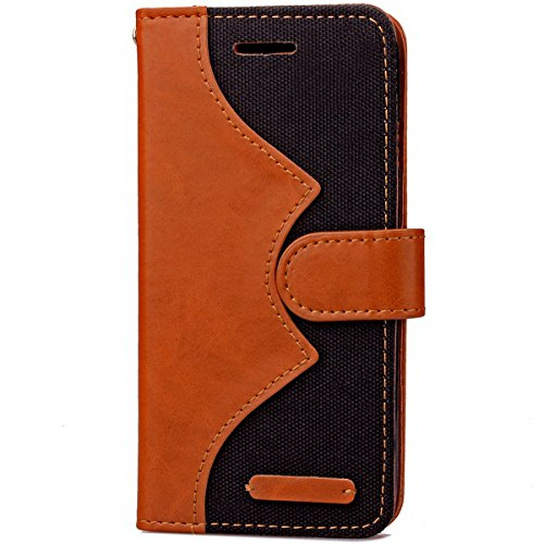 iPhone 6S Plus Hülle Case,Gift_Source [Photo Frame] [Karten Slots] [Double Color Stitching] Luxury Denim Fabric Entwurf PU Leather Magnetic Closure with Stand Flip Hülle Case für iPhone 6S Plus/6 Plus E01-01-Black160627
