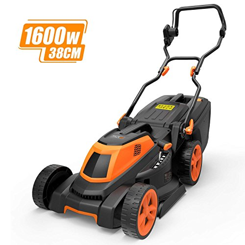 TACKLIFE Lawnmower, 1600W Electric Lawn Mower, 3-in-1, Cutting Width 38 cm, 6 Lever of Cutting Height, 40L Grass Box, Double Folded Handle - GLM4A