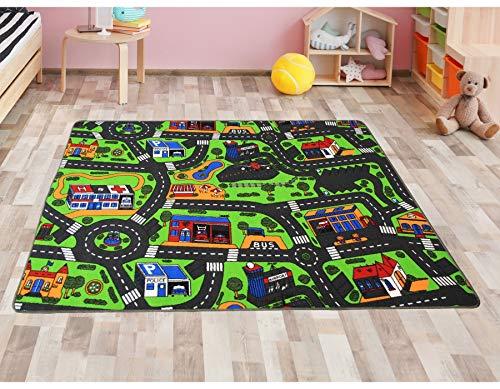 Primaflor - Ideen in Textil Kinderteppich City - 200cm x 300cm, Schadstoffgeprüft, Anti-Schmutz-Schicht, Auto-Spielteppich für Jungen & Mädchen, Verkehrsteppich Fußbodenheizung geeignet