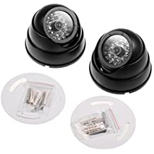 JZK® 2 X Cámaras de Simulada Maniquí Falsa de vigilancia CCTV Dome con LED Parpadeante
