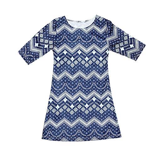 squarex  Summer Mommy & Me Frauen 3/4 Ärmel Oansatz Kleid mit unregelmäßigen Streifen Print Rock Familie Kleidung Kleid Eltern-Kind-Kleidung (Kleidung Junioren-kleid)