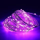 5M(16.4ft) 50 LEDs Kupferdraht LED Kupfer Lichterkette Batteriebetrieb Wasserdicht Sternen Lichterketten für Party, Garten, Weihnachten, Halloween, Hochzeit, Beleuchtung Deko (Lila)