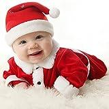 3pcs Set Bambino Costume Natale - Pagliaccetto Ragazzi Ragazze Bambini Costume Invernale Regalo Natale Cosplay Babbo Natale Rosso Top + Pantaloni + Cappello Mxssi