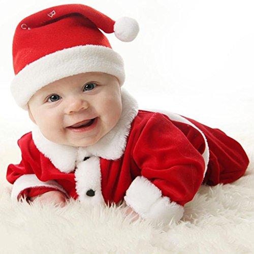 Weihnachtsmannkostüm für Kinder - 3tlg Unisex Baby Jungen Mädchen Kleinkind Weihnachtsmannanzug Weihnachten Kostüme Outfits Top+Hosen +Hut
