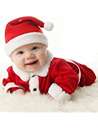 Juleya Bebé 3pcs Navidad Santa Claus Traje Traje Sombrero + Capa + pantalón