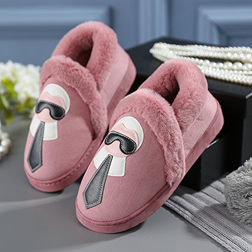 y-hui Liebhaber Frauen Winter Hausschuhe aus Baumwolle Tasche mit männlichen Schuhe Home Furnishing Home Hausschuhe dicken Warm am Ende des Winters, 36–37(geeignet für 35–36Füße), Hot Pink (Hot Pink-schuh-tasche)