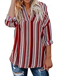Mujer blusa tops casual traje de Otoño,Sonnena Las mujeres Blusa tops ocasionales de manga corta sueltas blusa rayas casual ropa de calle fiesta noche citas playa