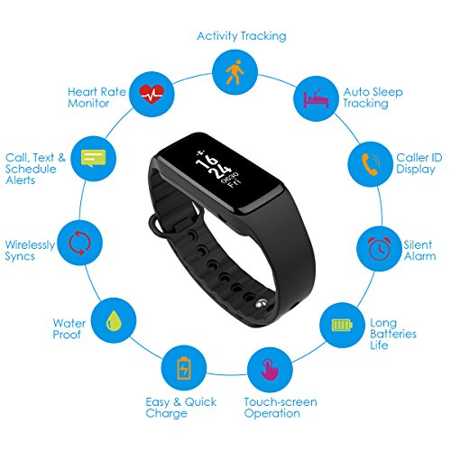 AMIR Smart Bracelet IPX7 Waterproof Touch Screen Smart Bands for Easter Activity Tracker with Heart Rate Monitor for Android and iOS Smart Phones Such as iPhone 7/ 7 Plus/ 6s/ 6/ 6 Plus/ 5/ 5S Samsung S7 etc