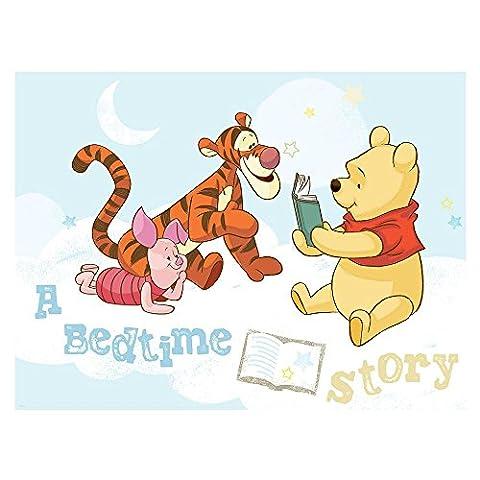 Vlies Fototapete PREMIUM PLUS Wand Foto Tapete Wand Bild Vliestapete - Disney Winnie Pooh Ferkel Tiger Kindertapete Mond Sterne - no. 3019, Größe: 254 x 184 cm Vlies