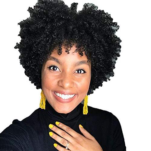 ToDIDAF Full Perücken für Frauen, Art- und Weisefrontspitze-kurzes Wellen-Kunsthaar, Schwarze natürliche lockige Perücke, Natürlich aussehend und hitzebeständig, 4 Zoll - Abba Shampoo