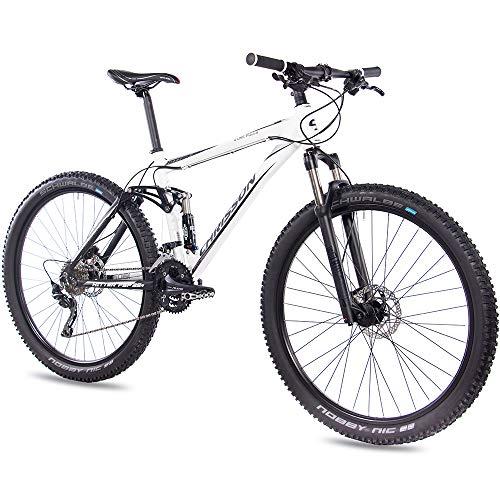 CHRISSON 29 Zoll Mountainbike Fully - Hitter FSF Weiss schwarz - Vollfederung Mountain Bike mit 30 Gang Shimano Deore Kettenschaltung - MTB Fahrrad für Herren und Damen mit Rock Shox Federgabel (Mountain Bike 29 Zoll Shimano)
