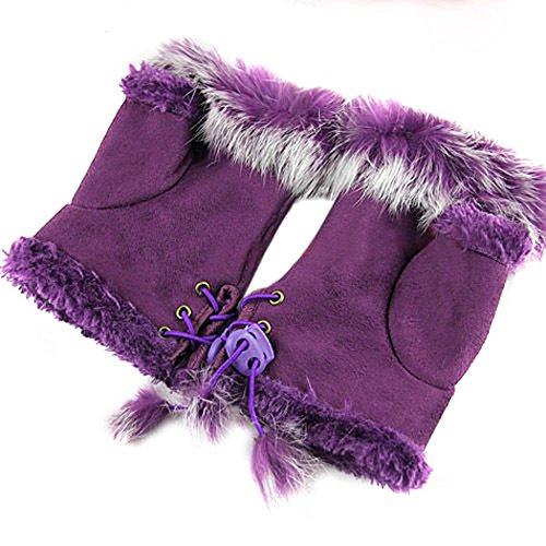 Bluelans® Kunstleder Fellimitat Fingerlose Handschuhe Fellhandschuhe Damenhandschuhe Winterhandschuhe Fäustlinge Fausthandschuhe (Lila)