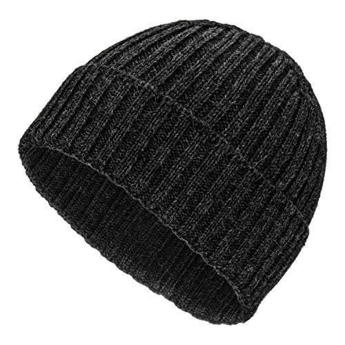 Wolle Beanie (Weiche Damen & Herren Alpaka Mütze aus 100% Alpaka Wolle in 10 Farben - Hochwertige Winter Strickmütze/Beanie Wollmütze von HansaFarm, Anthrazit - NFA14, Einheitsgröße)