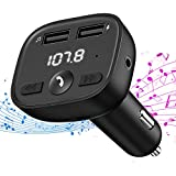 OMORC FM Transmitter Auto Bluetooth, KFZ Adapter Radio Dual USB Port (5V/2.4A, 5V/1A)