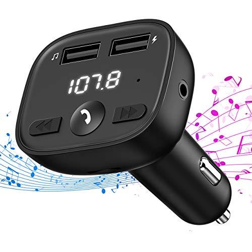 OMORC FM Transmitter Auto Bluetooth, KFZ Adapter Radio Dual USB Port (5V/2.4A, 5V/1A) Bluetooth Car Kit mit Aux in, Sprachnavigation und Freisprecheinrichtung für iOS und Android