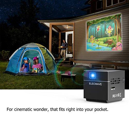 DLP Beamer, Elecwave Cube Video projektor mit Mini Stativ 120 Zoll Display Unterstützung 1080 P, 100 Lumen Unterstützung WiFi Verbindung für Heimkino / Spiel / TV Show / iOS / Android Smartphone