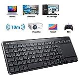 VicTsing Kabellose Touchpad Tastatur, All-in-One 2.4G USB Tastatur mit Trackpad,QWERTZ Deutsch Layout Media Keyboard für PC/Smart TV/HTPC/Laptop/PS4/Xbox/SamsungTV(Windows,Android), Schwarz