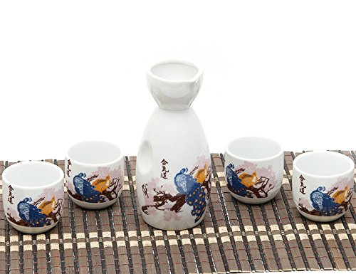 Ankoow giapponese Sake Set con 4 tazze in porcellana dipinto