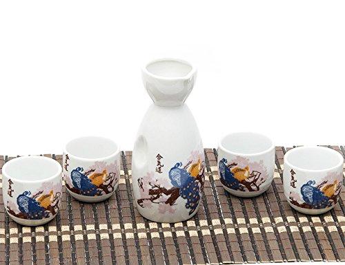 Ankoow giapponese Sake Set con 4 tazze in porcellana dipinto a mano fiori stile ceramica tradizionale in ceramica artigianato vino Cup 5 pezzi gres (Viola)