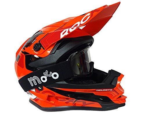 MOTOCROSS KINDERHELME 3GO XK 188 ROCKY QUAD MX STURZHELM SCHUTZHELM HELM FÜR MOTORRAD KINDERQUAD CROSS BIKE HELME NEU MODELL 2017 NEU MIT BRILLE ORANGE - Orange - M