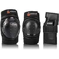 NAVESTAR Protektoren Set Schoner Set für Kinder und Erwachsene, Schutzausrüstung Set mit 2 Kniepolster, 2 Ellbogenpolster, 2 Handgelenkpolster