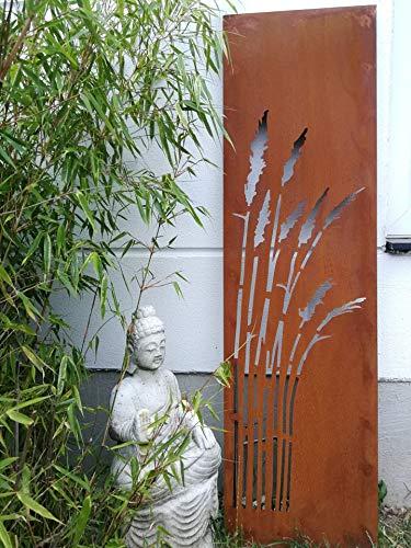 Zen Man Edelrost Garten Sichtschutz aus Metall 1mm Rost Gartenzaun Gartendeko edelrost Sichtschutzwand H125* 35cm 031912-5