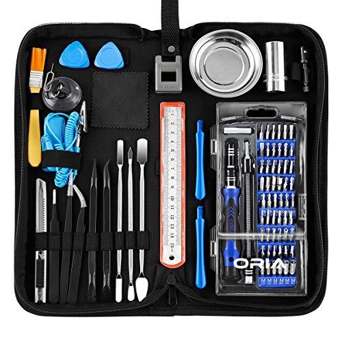 ORIA Professional Repair-Tool-Kit, 84 in 1 Mini Feinmechaniker-Set mit Steckschlüssel & Magnetablage, Schraubendreher Set Feinmechanik für Smartphone, Tablets, PCs, Kameras, Uhren, Brillen, Modellbau - Pc-tool-kit