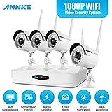 ANNKE 1080P WIFI NVR 4CH Kit de 4 Cámaras de Seguridad (HD CCTV IP P2P IP66 Onvif H.264+ LEDs ) Sistema de Seguridad Cámaras Inalámbrico de Vigilancia Plug and Play Visión nocturna Interior y Exterior Acceso Remoto Alarma inteligente- NO Disco Duro