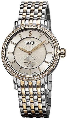 Burgi Femme Swiss Quartz Diamant Cadran Argenté & Doré Bracelet en Acier Inoxydable Montre