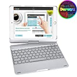 Durwyn Ipad 9.7 Backlight Keyboard Case, 7 Colors 360 Rotate for 2018-6Th Gen - 2017-5Th Pro Air 2 and 1 Back Hard Folio Swivel Cover with Wireless Bluetooth Auto Sleep, Wake - Silver
