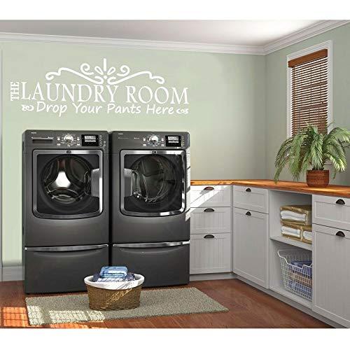 yiyiyaya Persönlichkeit Beschreibung Vinyl Wandtattoos setzen Sie Ihre Hosen Hier abnehmbare Waschküche Dekoration Tapete57 * 19cm